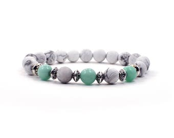 Gemstone Bracelet, Beaded Yoga Jewelry, Calming Stress Relief Jewelry, Howlite Jewelry, Stretch Bracelet, Stacking Bracelet, Gift For Her