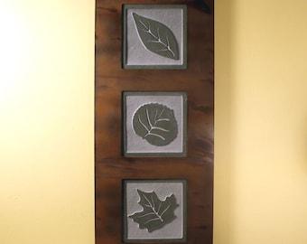 Natural Stone Wall Art Trio - Leaves on Green Slate w/ Rust Frame