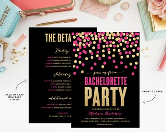 Shimmer & Shine Pink and Gold Bachelorette Weekend Invitation