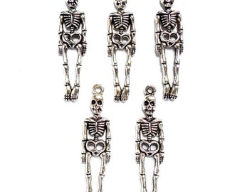 5 Antique Silver Skeleton Charms - 21-36-2