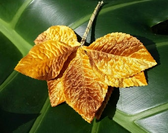 Vintage silk velvet leaves for millinery or floristry in Autumn Fall Yellow Brown Colours