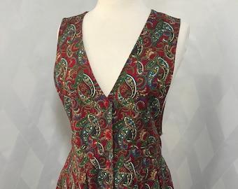 Vintage 80s Paisley Hunt Club Cotton Jumper Dress with Pockets Size 10 Petite