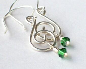 Green Crystal Earrings - Silver Drop Earrings - Green Earrings - Crystal Drop Earrings for Women - Silver Dangle Earrings - Spiral Earrings