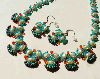 Sea Green and Amber Glass Beaded Necklace With Ivory Oval Glass Pearls and Matching Earrings