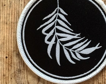Wilty Palm Patch. Woven Black and White Sew On Patch.