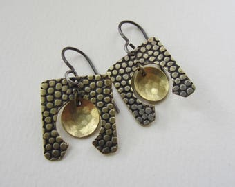Textured Brass Earrings circle within a square hand fabricated drop earrings