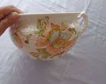 Antique Chamber Pot  K & Co.  B - Late Mayers - 1886 - 1936  Handpainted #M698  Beautiful flowers off white Commode Gold Trim on Handle