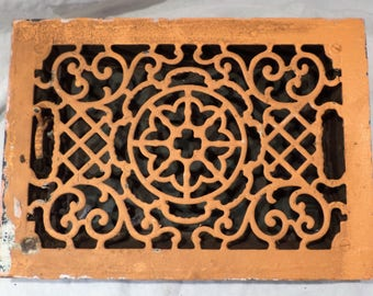Vent Grate or Radiator Grate, Large Rectangular Cast Iron Architectural Salvage