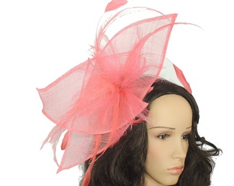 Viktoria Coral Fascinator Hat for Weddings, Races, and Special Events With Headband