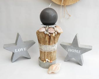 Seaside - decorative candle holder driftwood, shells and concrete - decorative edge of sea-unique candle holder - Driftwood candle holder.