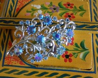 Vintage Brooch Pin SIGNED CORO Blue Aurora Borealis Rhinestone Jewelry