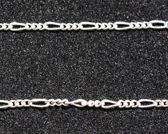 Sterling Silver Figaro Chain 16 inch., 7.5 inch., 18 inch., 20 inch., 22 inch., 24 inch. (19cm, 41cm, 46cm, 51cm, 56cm, 61cm)