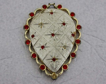 Emmons Pendant with Red Rhinestones - Vintage Costume Jewelry