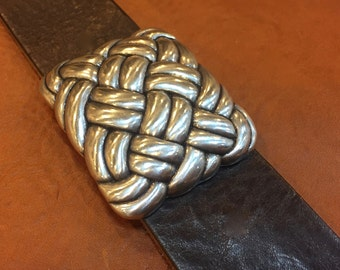 Italian Designed Belt Buckle - Basketweave Design