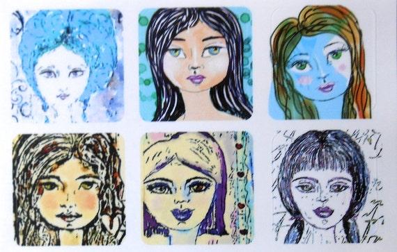 Mini Girls 2 - Fine Art Stickers