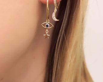 Dangle 14k and sterling hoop evil eye (hoop) pair