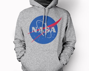 Grey Hoodie with NASA Design logo - space agency big bang rocket moon landing