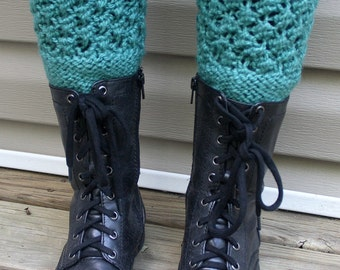 Turquoise Blue Boot Cuffs, Knitted Boot Cuffs, Winter Accessories