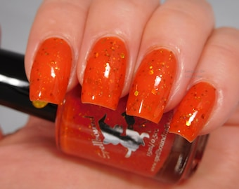 Pumpkin Spice Latte *with optional scent* - custom orange jelly holographic gold copper shred glitter nail polish