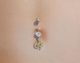 14k Solid Gold Dangly 69 Belly Ring.14g..10mm(Sale)