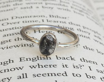 Handmade Black Rutile Quartz Ring- Black Rutile Ring - Gemstone Ring - Sterling Silver Ring - Cabochon Ring - Oval Shape - Size US 3 to 14