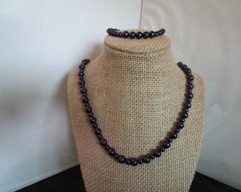 Dark Purple Necklace & Bracelet Set
