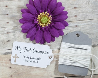 My First Communion Tags 20pc - Thank You Tags for Confirmation - White Catholic Labels - Small Personalized Christian Tags for Christening
