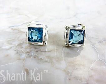 Sale- Blue Topaz Square Stud Earrings -was 55