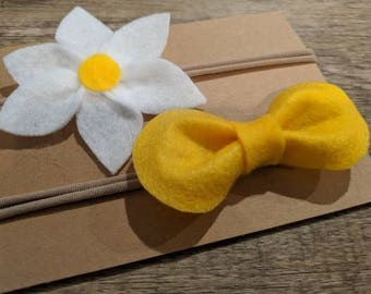 Newborn Baby Felt Flower Headband Set