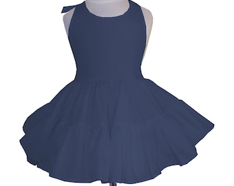 Solid Navy Blue Twirly Halter Dress Sundress with full ruffled skirt Infant Baby Toddler Girl Square Dance Dress Many colors available!