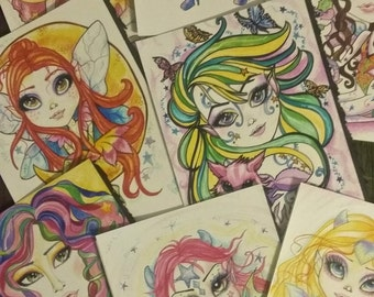 Dragons Sun ,Moon and Stars Fantasy Girl Art Greeting Cards Collection by Leslie Mehl Art