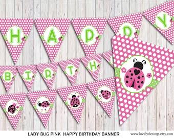 Ladybug Banner, PINK Ladybug Birthday banner, party banner, Banner printable, Instant Download PDF
