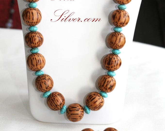 Blue Turquoise and Round Wood Bead Necklace and Stretch Bracelet Set, Blue Tribal Beaded Necklace Set, Turquoise and Wood Necklace Set