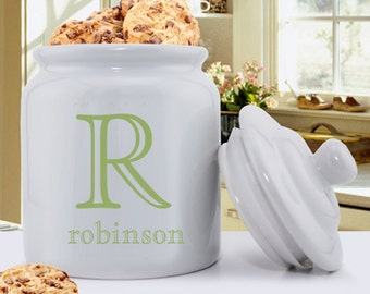 Monogram Cookie Jar - Personalized Cookie Jar - Single Initial Ceramic Cookie Jar - Gifts for Mom - Gifts for Her - GC1077