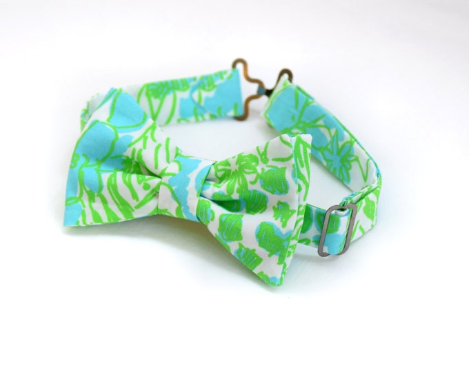 Boy's Bow Tie, aqua/lime It's a Zoo Lilly print, father/son matching ties, wedding accessory, toddler bow tie, ring bearer bow tie, Easter