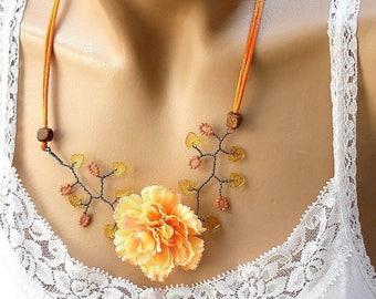 Orange Carnation Flower necklace