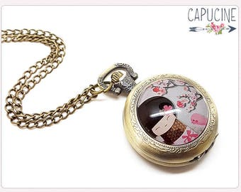 Kokeshi Pocket Watch Necklace - Necklace watch bronze - Glass dome kokeshi