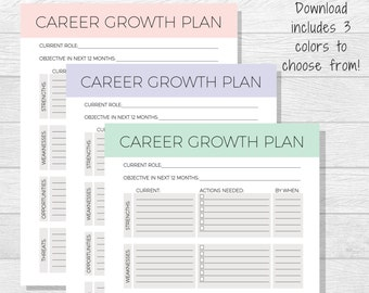 Business Goals Printable - Goal Setting - Work Goals - Self Improvement - Professional Goals - Personal Development - Career Growth Plan