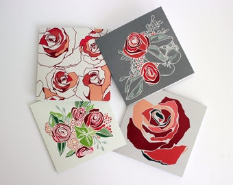 Pack of 4 Rose Floral Greetings Cards