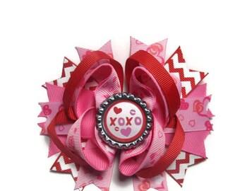 XOXO Hair Bow, Kisses and Hugs Bow, Valentine Hair Bow, Valentine Bow, Party Bow, Heart Hair Bow, Girls Hair Bow