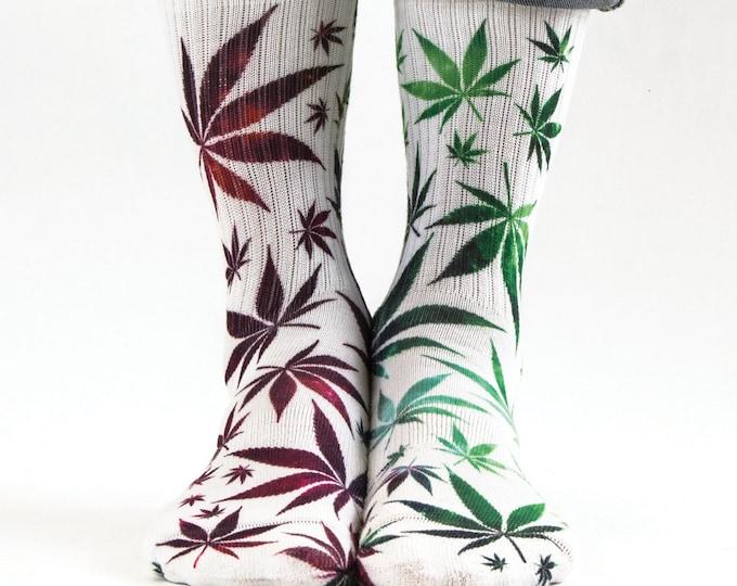 Samson® Ganja Galaxy Sublimation Hand Printed Socks Weed Cannabis Marijuana Marihuana Pot Grass Quality Print UK