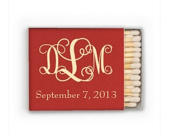 50 Monogram Wedding Match Box Favors, Personalized Monogrammed Wedding Matches, Custom Wedding Favors, Printed Matchboxes