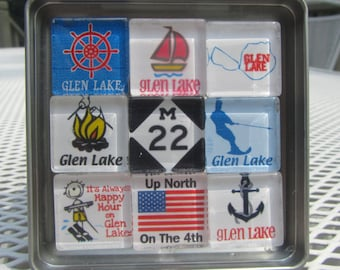 Glen Lake, Up North Michigan Magnets Set, Northwest Michigan Souvenir or Gift
