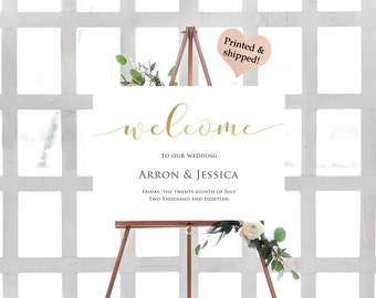 Gold Foil Welcome Wedding Sign- Rustic Welcome To Our Wedding Sign- Rustic Wedding Sign- Printable Wedding Signs- Bohemian Welcome Sign