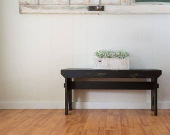 """Farmhouse Bench - Black distressed bench, primitive rustic painted bench 36"""" x 19"""" x 11"""""""