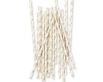 Gold Foil Hearts Design Modern Drinking Straws, Wedding Venue Decoration - Pack of 25
