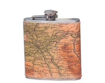 Personalised map leather hip flask
