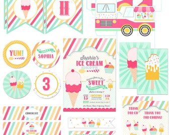 Ice Cream Birthday Party Collection - Invitations, Tags, Banner, Cupcake toppers - Party Sprinkles