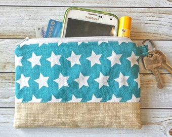 Stars Coin Purse, Small Zipper Wallet, Coin Pouch, Zip Pouch, Padded Zipper Pouch, Gifts for Her