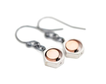 Rose gold and oxidized silver earrings